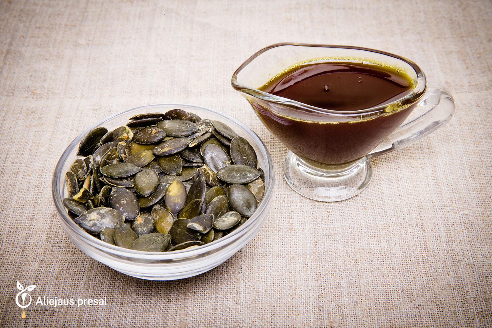 Šviežiai spaustas natūralus lukštentų moliūgų sėklų aliejus