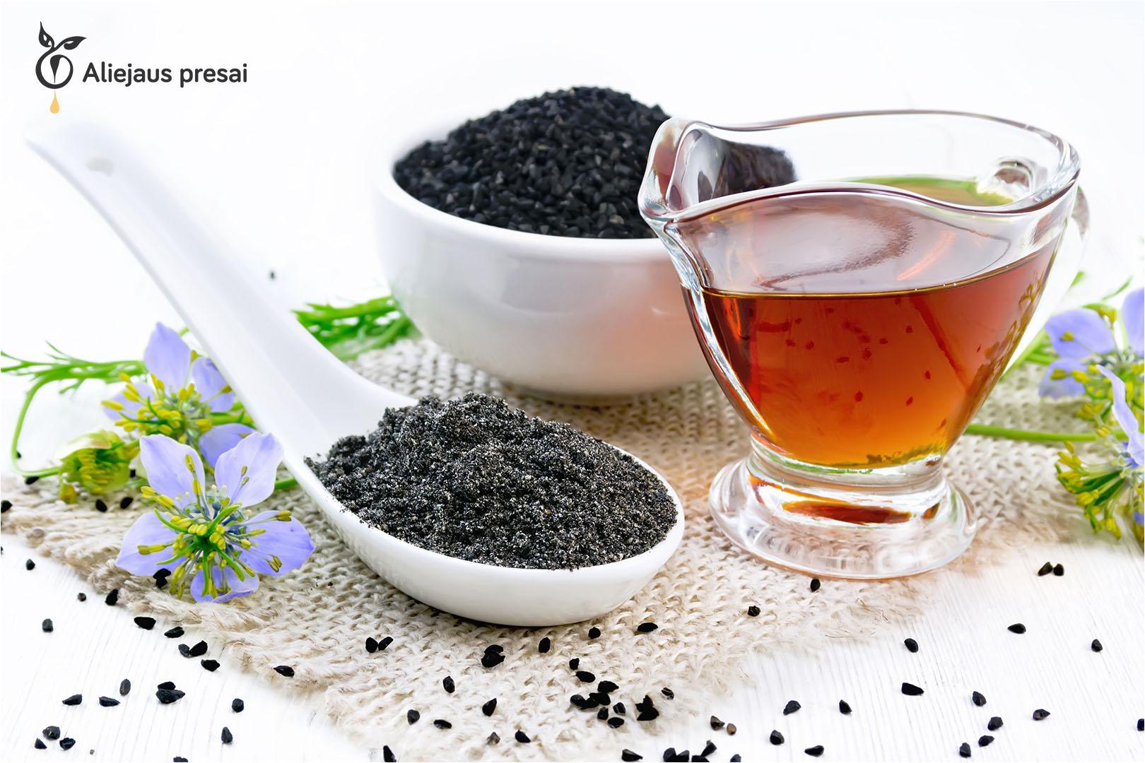 Šviežiai spaustas natūralus juodgrūdės sėklų aliejus